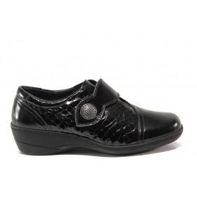 Дамски обувки на платформа - естествена кожа-лак - черни - EO-14327