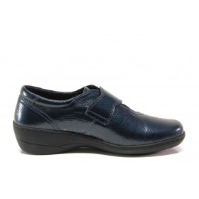 Дамски обувки на платформа - естествена кожа-лак - сини - EO-15303