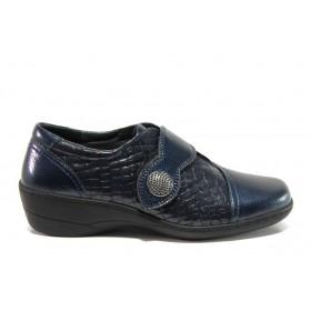 Дамски обувки на платформа - естествена кожа-лак - сини - EO-14328