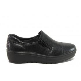 Дамски обувки на платформа - естествена кожа - черни - EO-14323