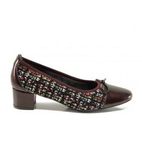 Дамски обувки на среден ток - естествена кожа - бордо - EO-14294