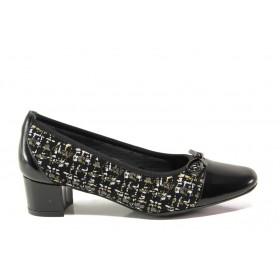 Дамски обувки на среден ток - естествена кожа - черни - EO-14295