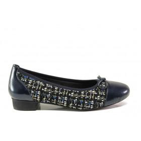 Равни дамски обувки - естествена кожа - сини - EO-14291