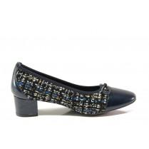 Дамски обувки на среден ток - естествена кожа - тъмносин - EO-14332