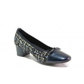 Дамски обувки на среден ток - естествена кожа - тъмносин - EO-15304