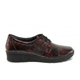 Равни дамски обувки - естествена кожа-лак - бордо - EO-14320