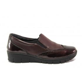 Равни дамски обувки - естествена кожа - бордо - EO-14331