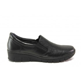 Равни дамски обувки - естествена кожа - черни - EO-14329