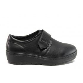 Дамски обувки на платформа - естествена кожа - черни - EO-14316