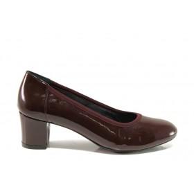 Дамски обувки на среден ток - естествена кожа-лак - бордо - EO-14308