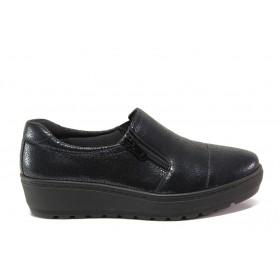 Дамски обувки на платформа - естествена кожа - тъмносин - EO-14324