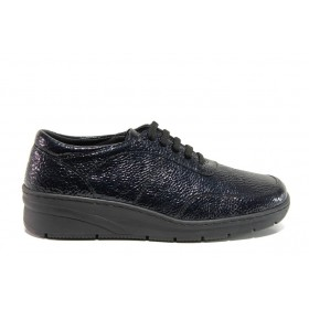 Дамски обувки на платформа - естествена кожа-лак - тъмносин - EO-14325