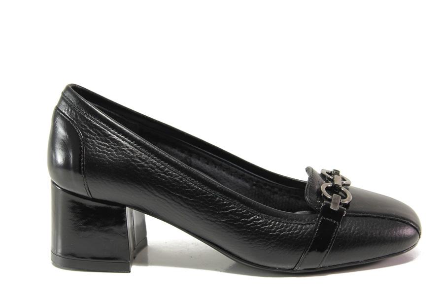 Дамски обувки на среден ток - естествена кожа - черни - EO-14298