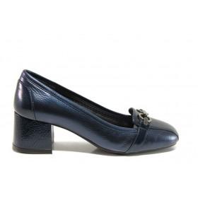 Дамски обувки на среден ток - естествена кожа - сини - EO-14299