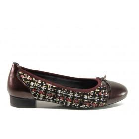 Равни дамски обувки - естествена кожа - бордо - EO-14293