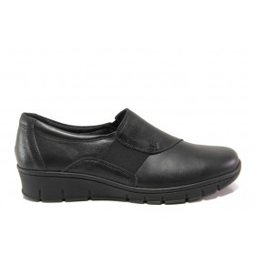 Равни дамски обувки - естествена кожа - черни - EO-14283