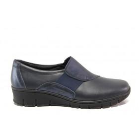 Равни дамски обувки - естествена кожа - сини - EO-14284