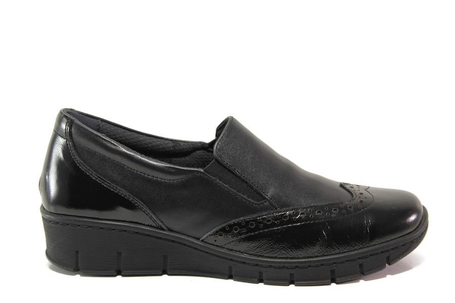 Равни дамски обувки - естествена кожа - черни - EO-14313