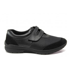Равни дамски обувки - естествена кожа - черни - EO-14276