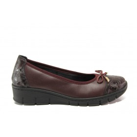 Равни дамски обувки - естествена кожа - бордо - EO-14290