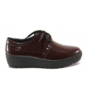 Равни дамски обувки - естествена кожа-лак - бордо - EO-14285