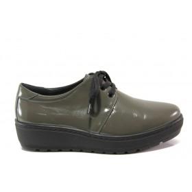 Равни дамски обувки - естествена кожа-лак - зелени - EO-14286