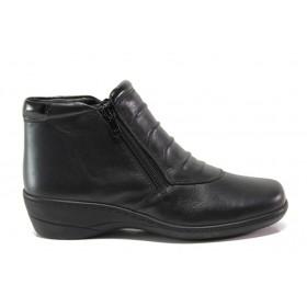 Дамски боти - естествена кожа - черни - EO-14336