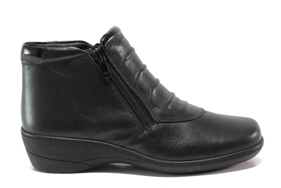 Дамски боти - естествена кожа - черни - EO-15406