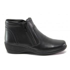 Дамски боти - естествена кожа - черни - EO-14344