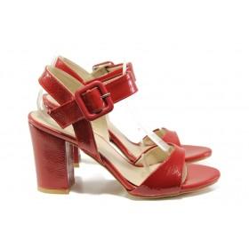 Дамски сандали - еко кожа-лак - червени - EO-14034