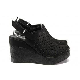 Дамски сандали - естествена кожа - черни - EO-14032