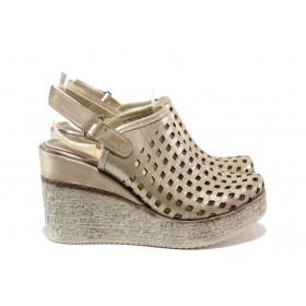 Дамски сандали - естествена кожа - бежови - EO-14033