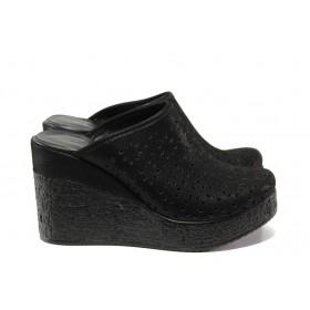 Дамски чехли - естествена кожа - черни - EO-14035