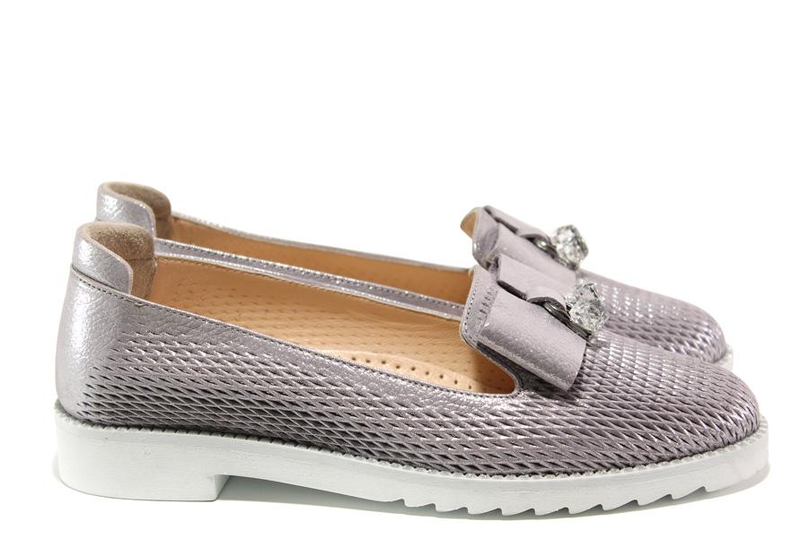 Равни дамски обувки - естествена кожа - сребро - EO-14064