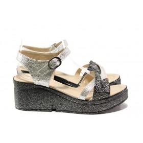 Дамски сандали - висококачествена еко-кожа - сребро - EO-14061
