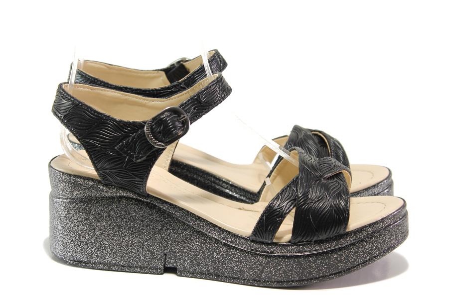 Дамски сандали - висококачествена еко-кожа - черни - EO-14063