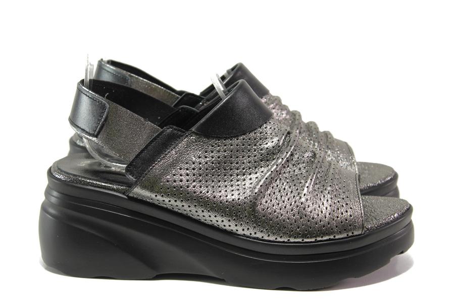 Дамски сандали - естествена кожа - сребро - EO-14031