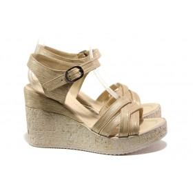 Дамски сандали - висококачествена еко-кожа - бежови - EO-14030