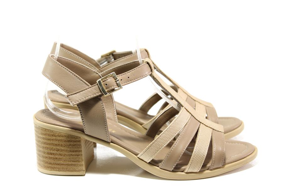 Дамски сандали - естествена кожа - бежови - EO-14029
