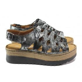Дамски сандали - естествена кожа - черни - EO-14074