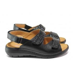 Дамски сандали - естествена кожа - черни - EO-14071