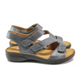 Дамски сандали - естествена кожа - сиви - EO-14073