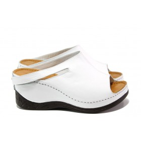 Дамски чехли - естествена кожа - бели - EO-14083