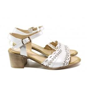 Дамски сандали - естествена кожа - бели - EO-14090