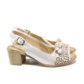 Дамски сандали - естествена кожа - бежови - EO-14091