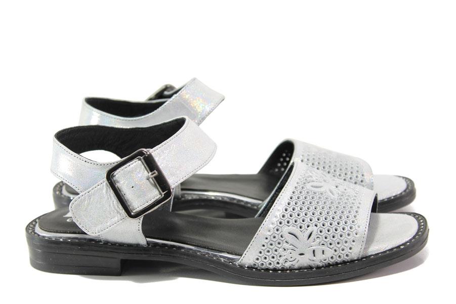 Дамски сандали - естествена кожа - сребро - EO-14101