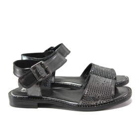Дамски сандали - естествена кожа - сиви - EO-14100