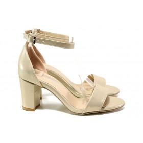 Дамски сандали - висококачествена еко-кожа - бежови - EO-14086