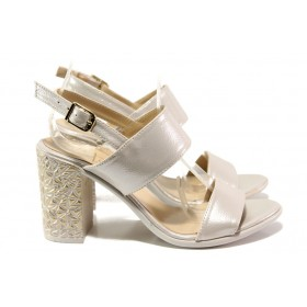 Дамски сандали - висококачествена еко-кожа - бежови - EO-14095