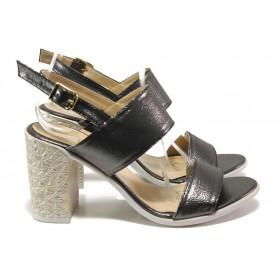 Дамски сандали - висококачествена еко-кожа - сиви - EO-14096
